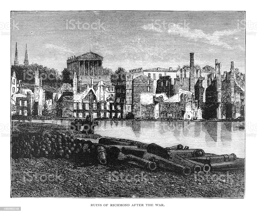 Ruins of Richmond after the war vector art illustration