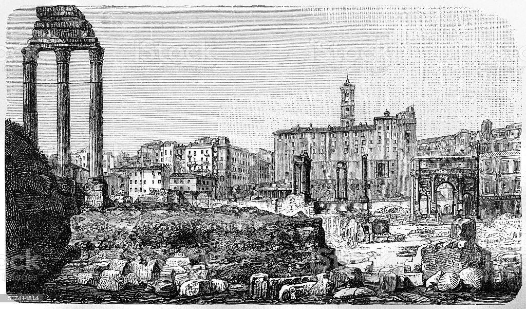 Ruins of Roman Forum in Rome vector art illustration