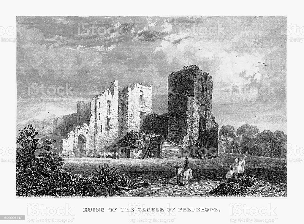 Ruins of the Castle of Brederode in Ghent, Holland Circa 1887 vector art illustration