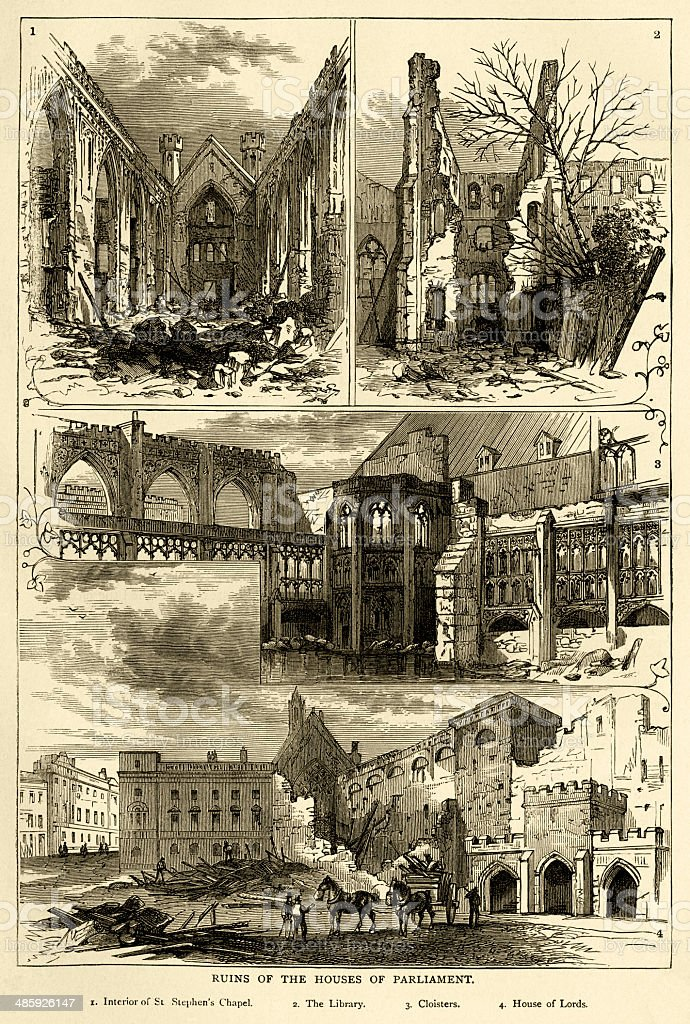 Ruins of the Houses of Parliament after the fire, 1834 vector art illustration