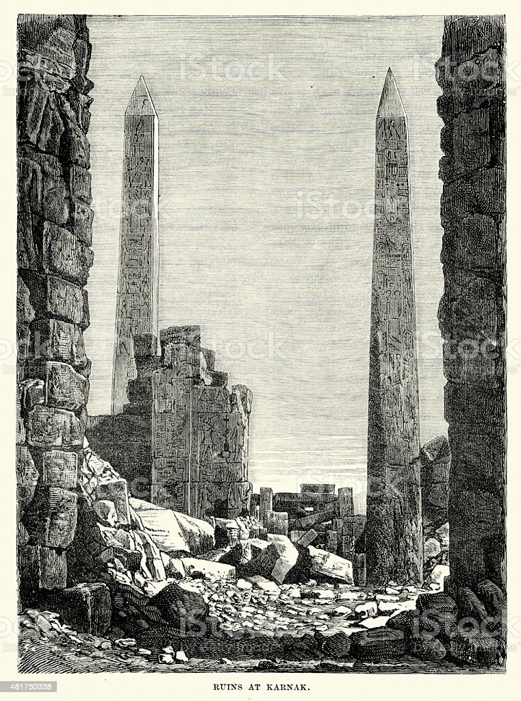 Ruins of the Karnak Temple Complex vector art illustration
