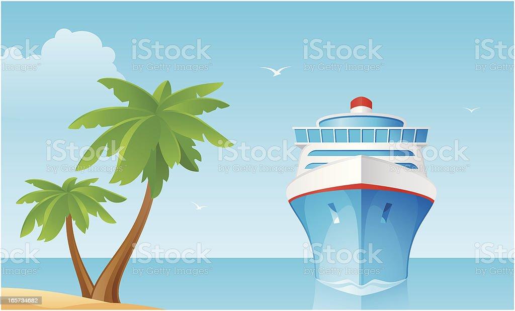 Сruise ship vector art illustration
