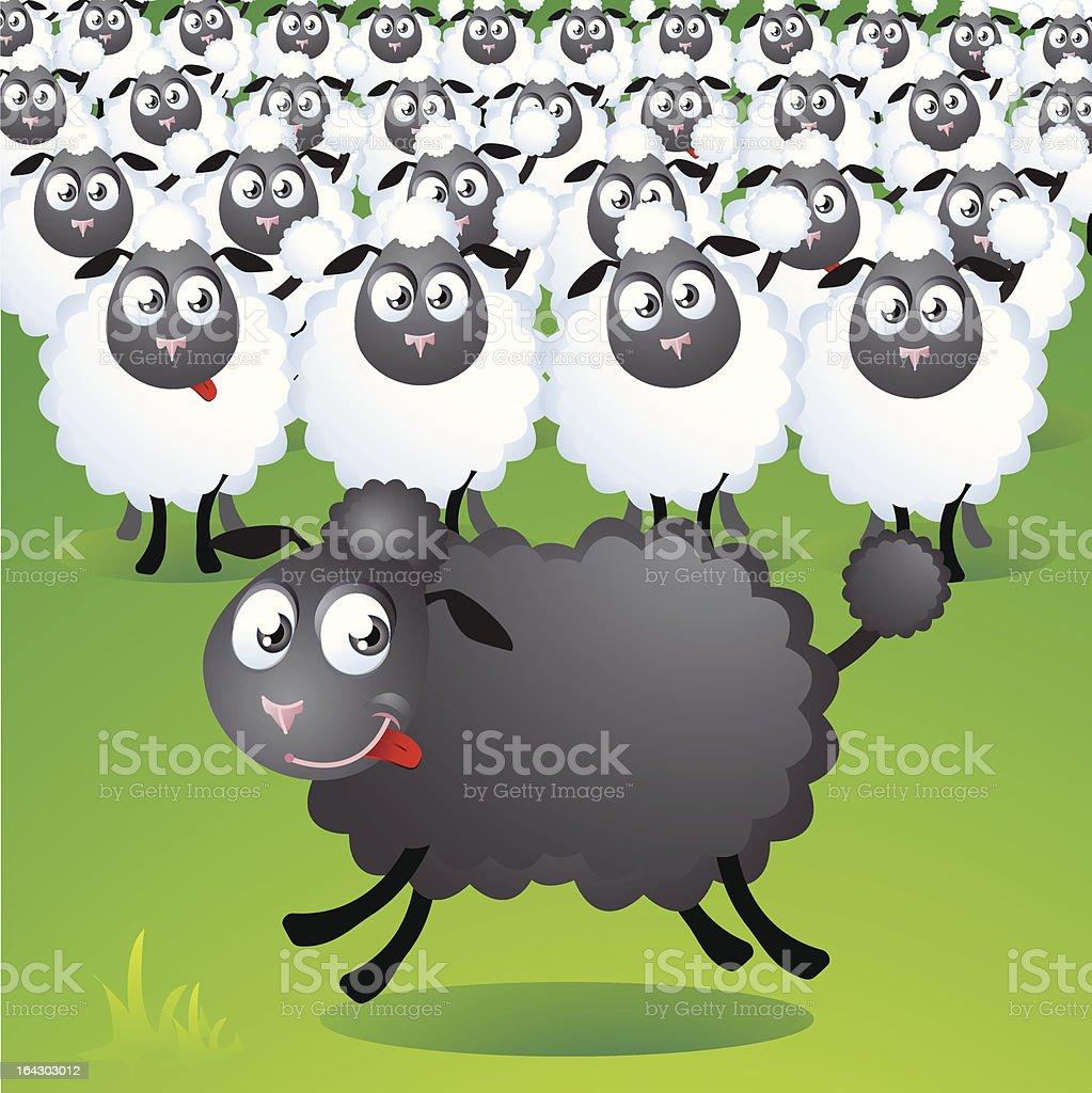 run of the black sheep vector art illustration