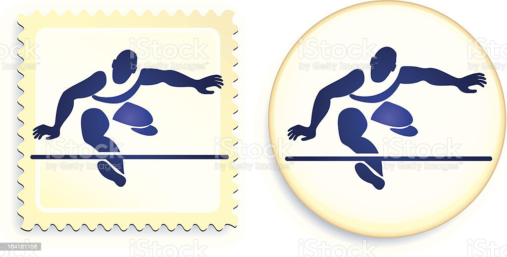 Runner hurdling stamp and button royalty-free stock vector art