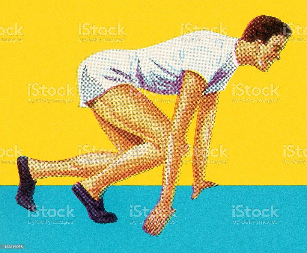 Runner in Starting Position royalty-free stock vector art