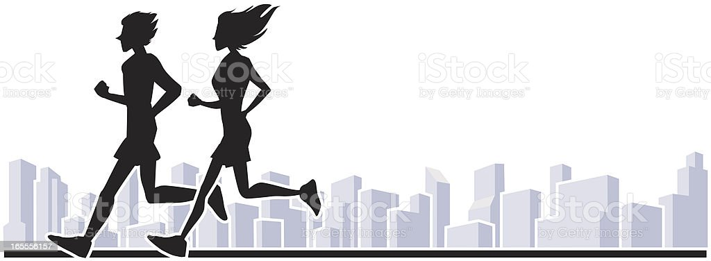Runners in the city royalty-free stock vector art