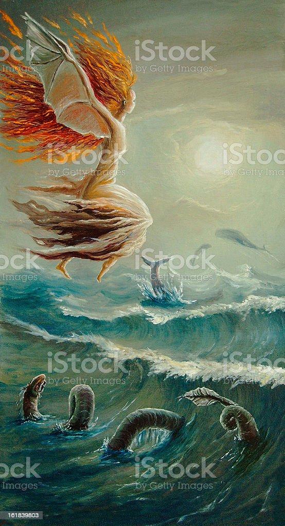 running along waves vector art illustration