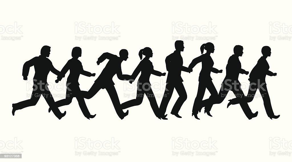 running businessteam vector art illustration