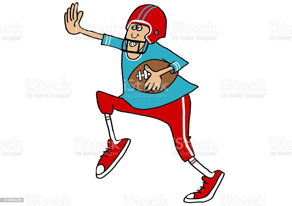 Running the football vector art illustration