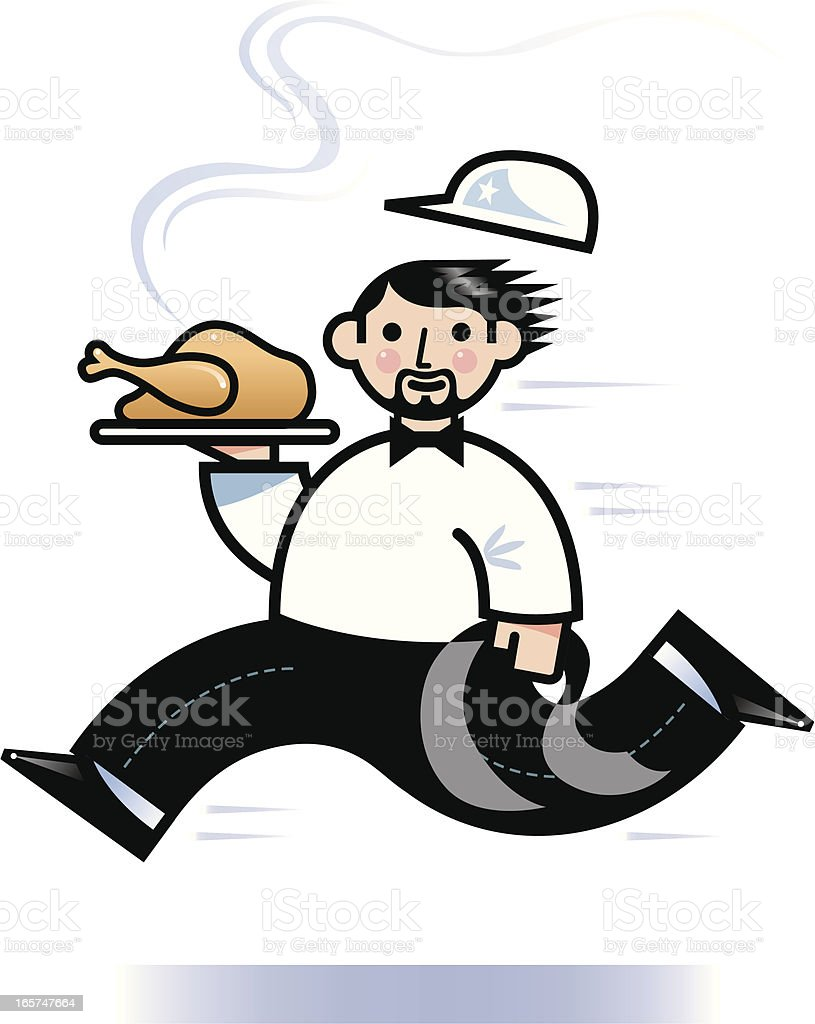 Running waiter vector art illustration