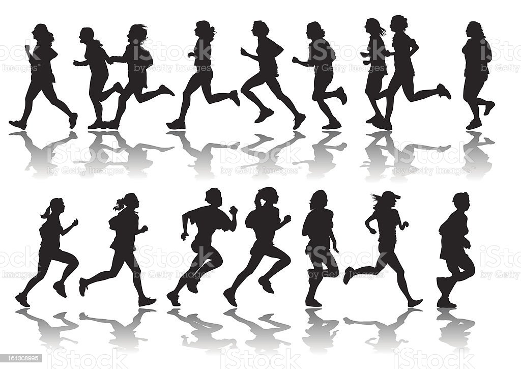 running women royalty-free stock vector art