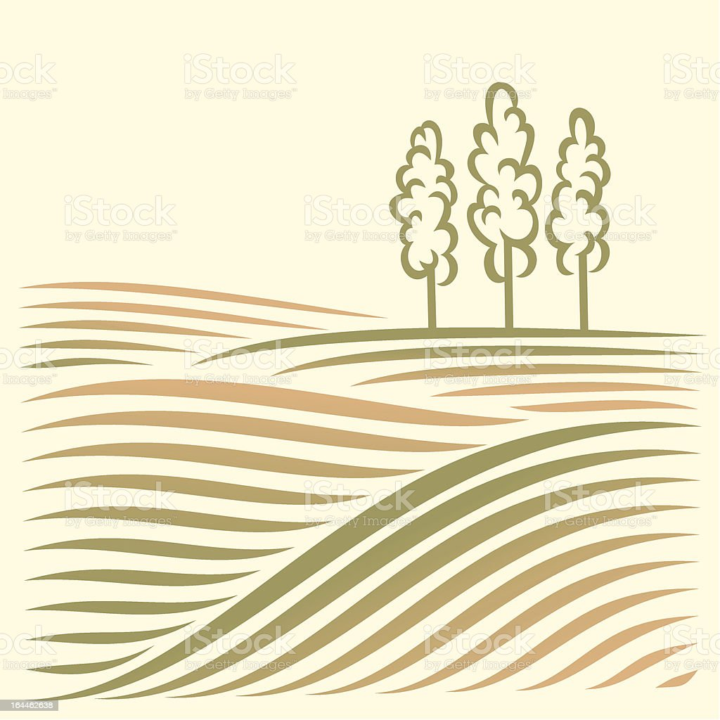 Rural landscape with fields and tree vector art illustration