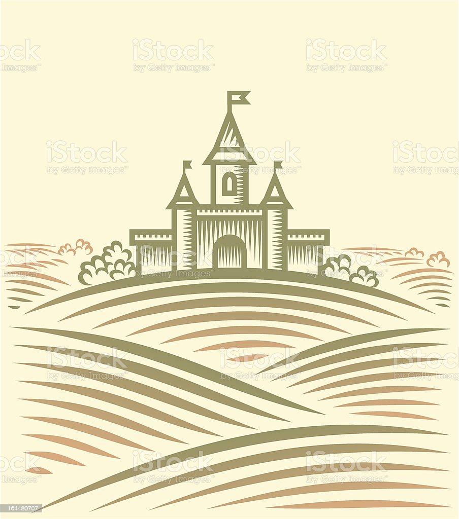 Rural landscape with hill and Castle vector art illustration