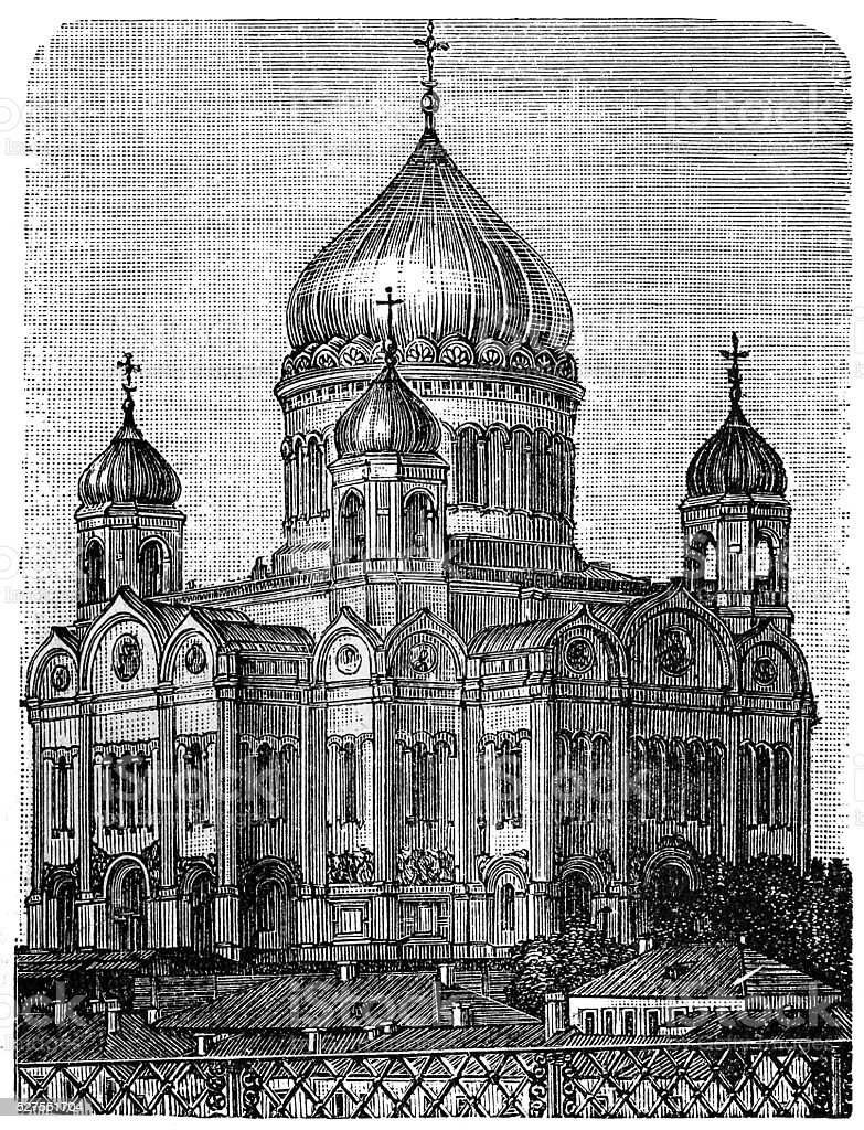 Russia. Cathedral of Christ the Saviour vector art illustration