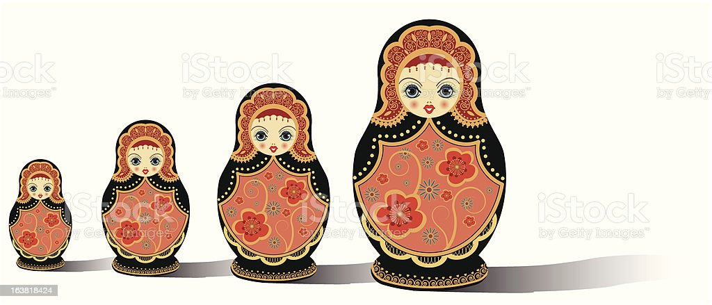 russian dolls isolated on white royalty-free stock vector art