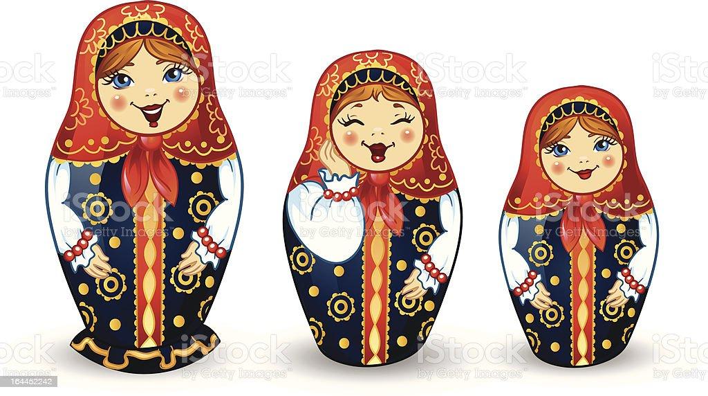Russian Dolls Matrioshka vector art illustration