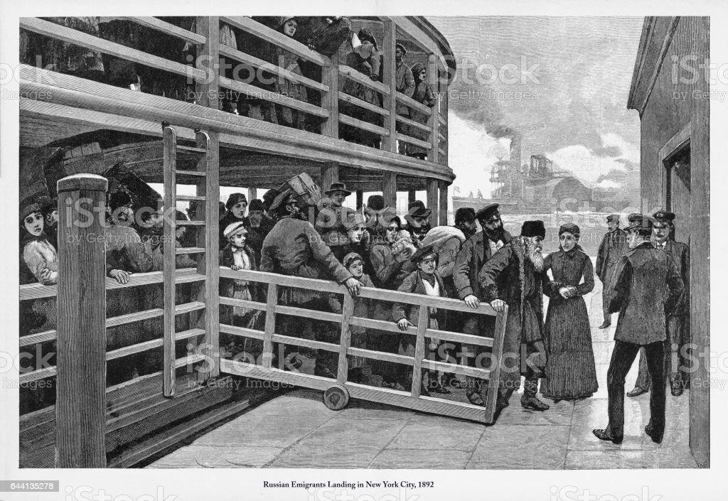 Russian Immigrants Landing in New York City, 1892 Engraving vector art illustration