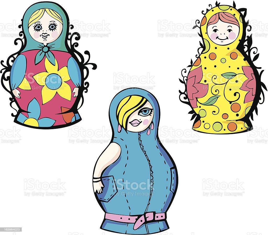 Russian matryoshka dolls royalty-free stock vector art