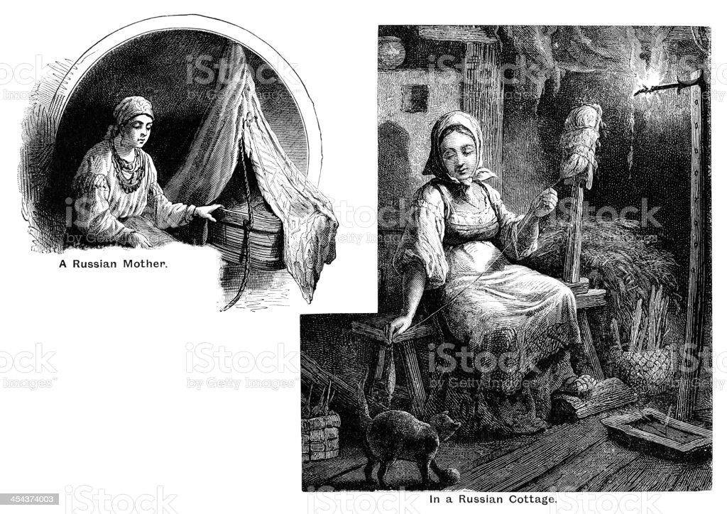 Russian mother and cottage - Victorian engraving vector art illustration