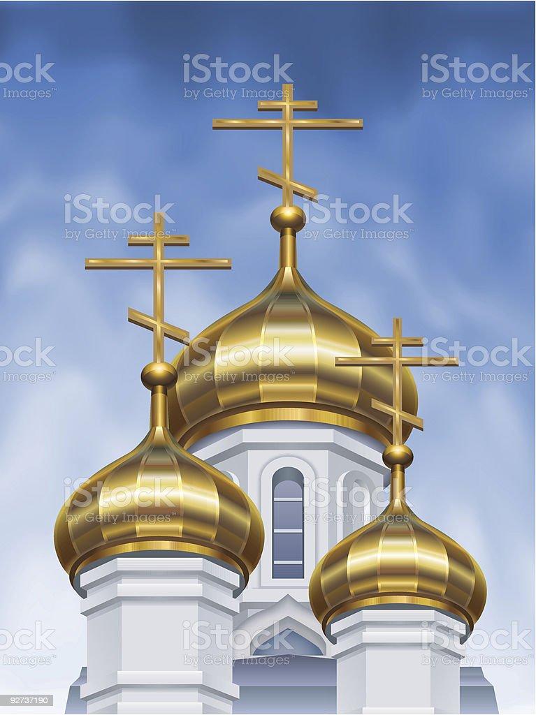 Russian orthodox church cupolas royalty-free stock vector art