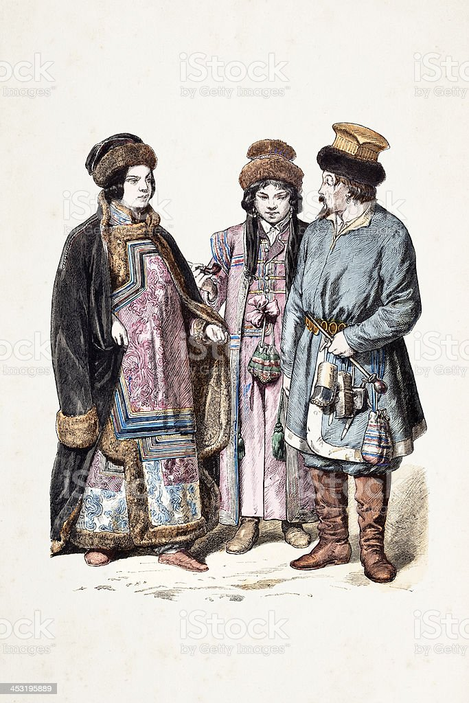 Russian people from Sibiria in traditional clothing 1870 royalty-free stock vector art