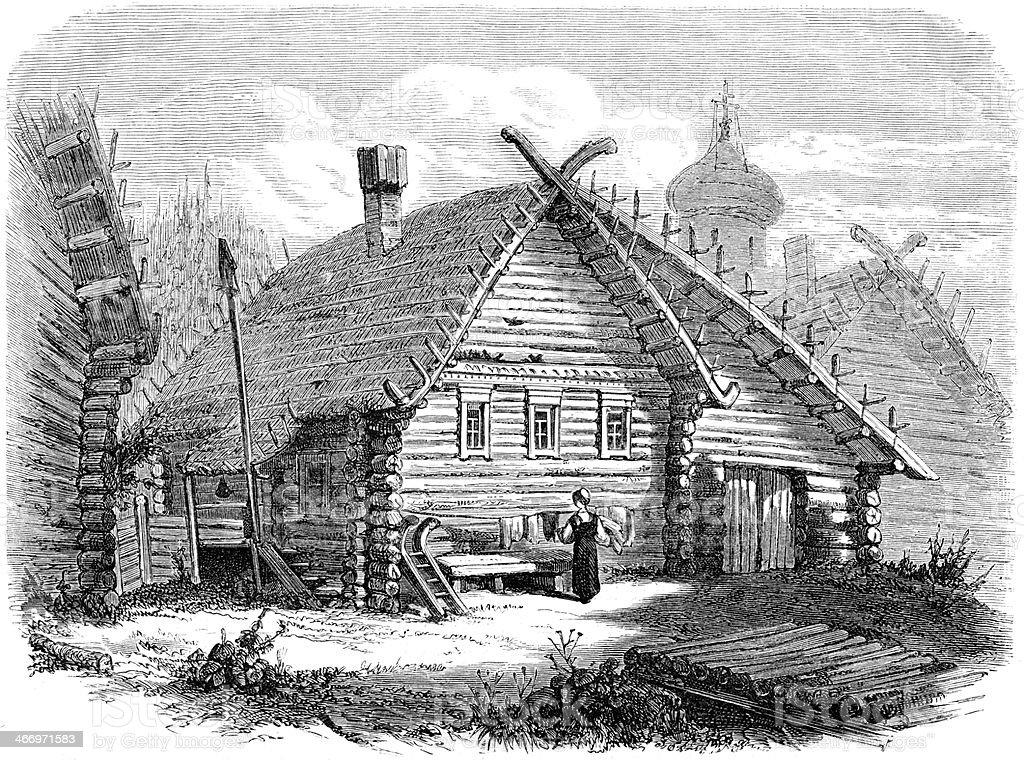 russian village vector art illustration