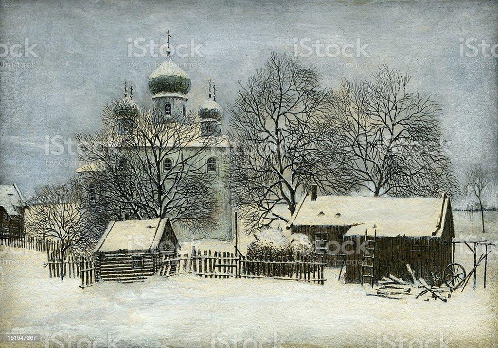 Russian winter royalty-free stock vector art