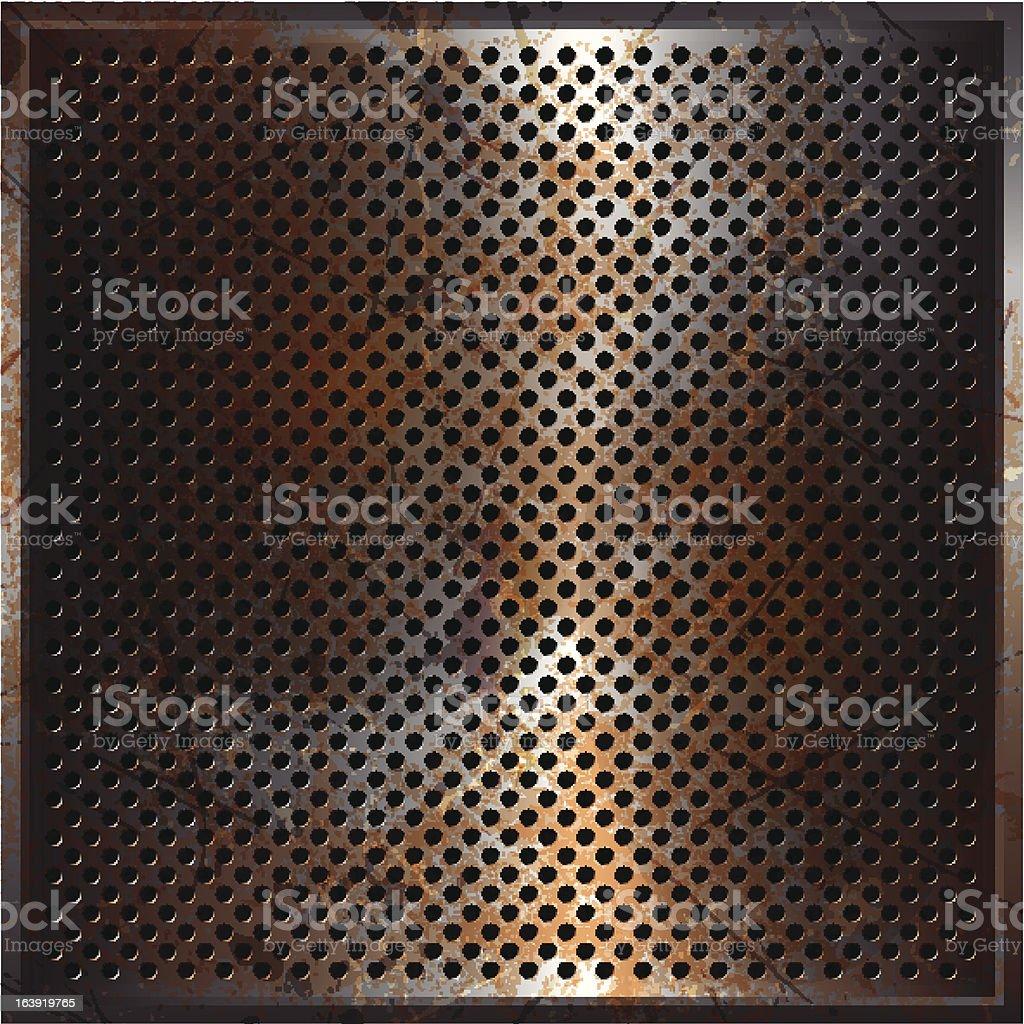 Rusty perforated metal vector art illustration
