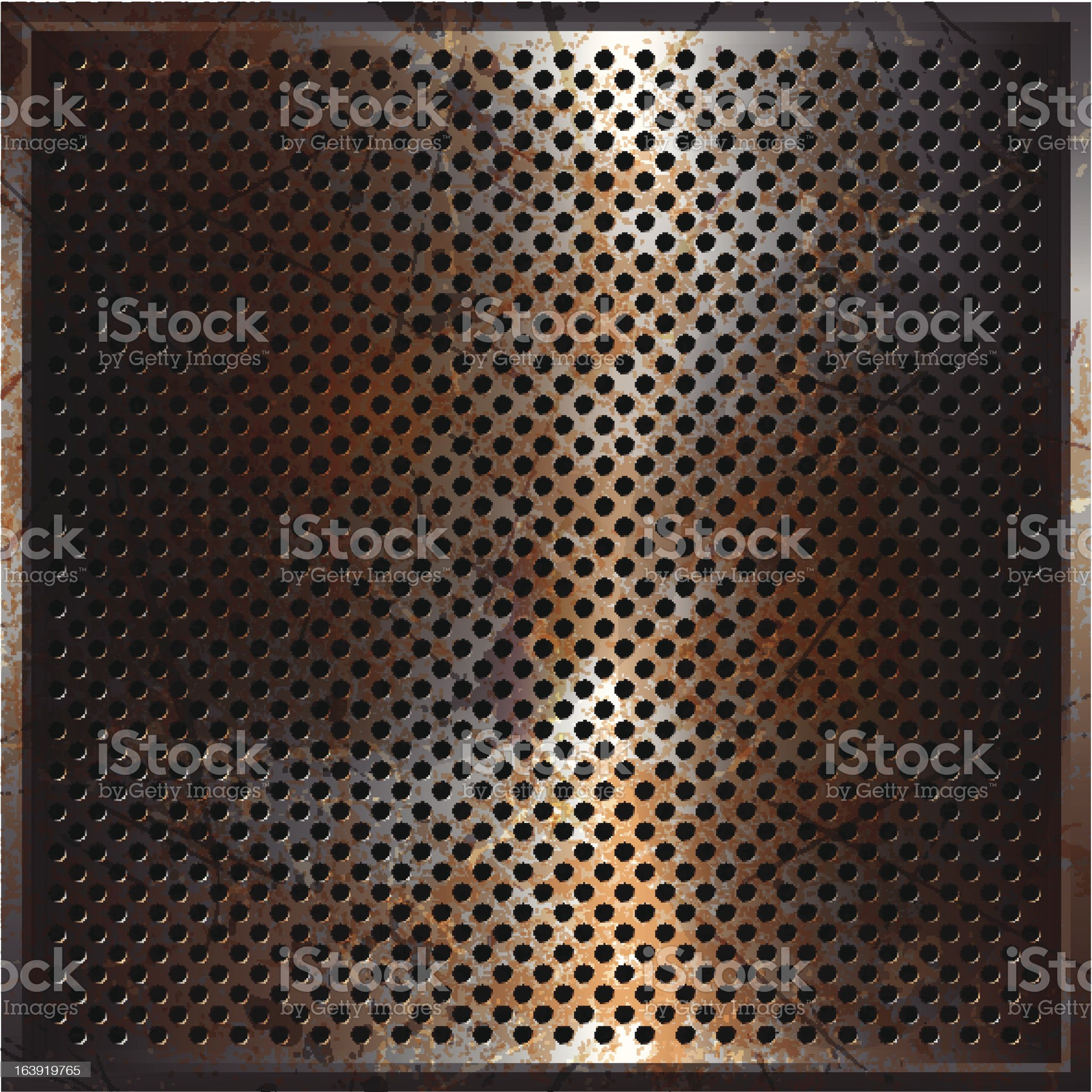 Rusty perforated metal royalty-free stock vector art