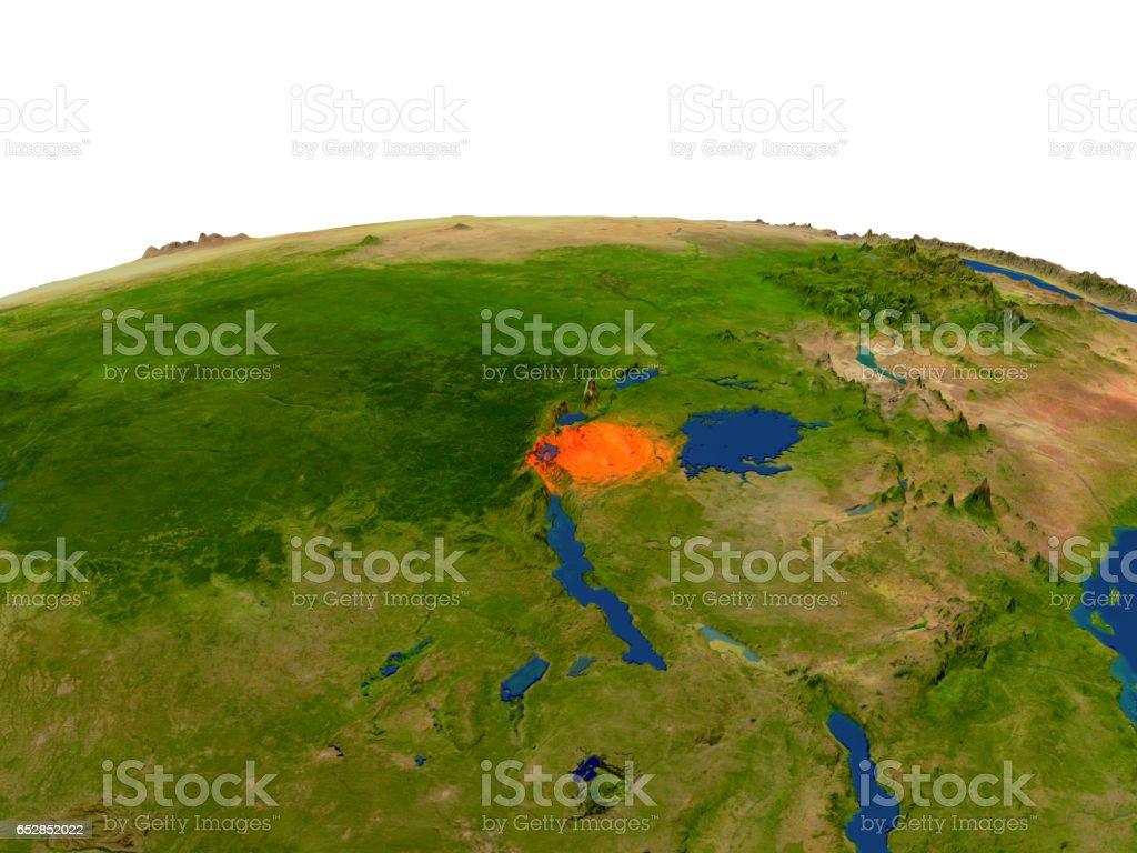 Rwanda in red from orbit stock photo