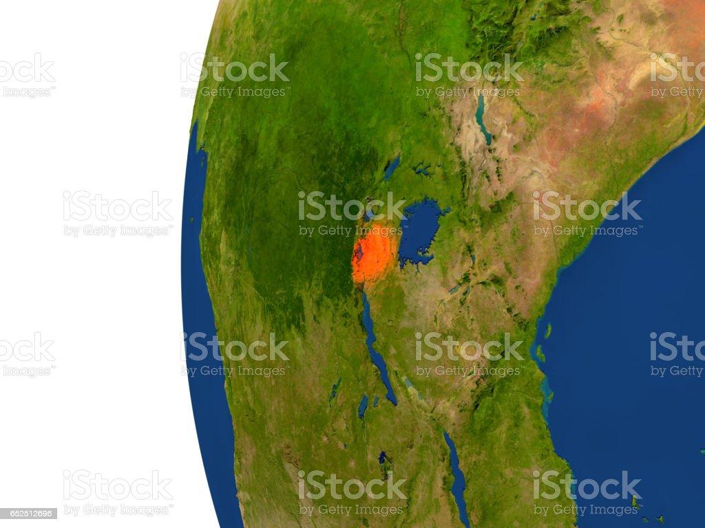 Rwanda on globe stock photo