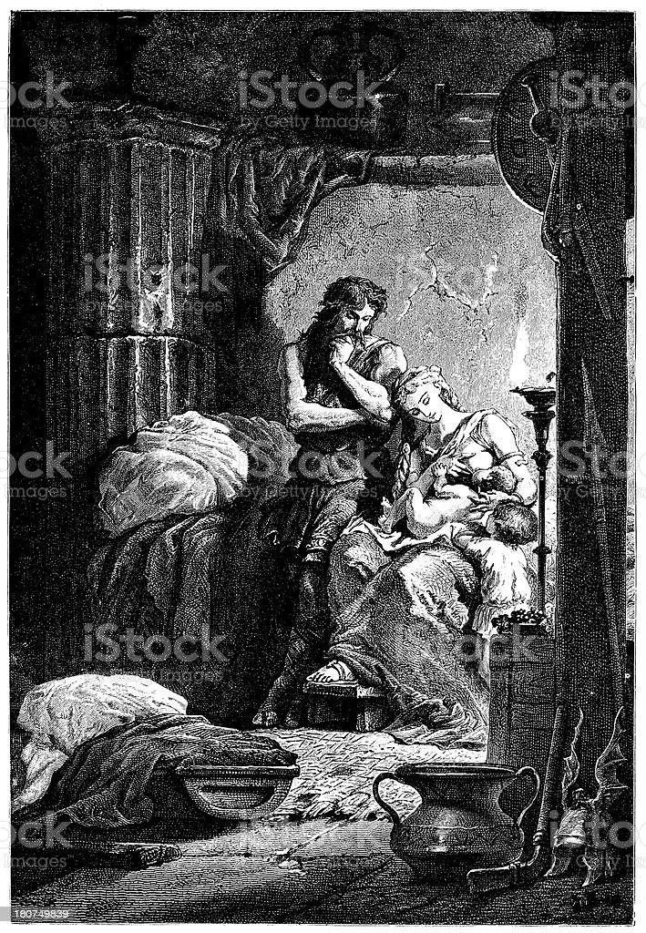 Sabinus And Epponina Hidden Away royalty-free stock vector art