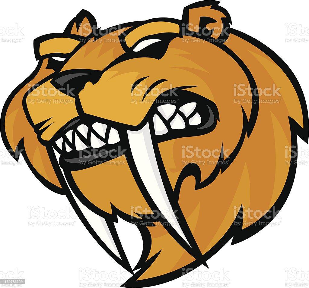 sabretooth tiger mascot sabertooth vector art illustration