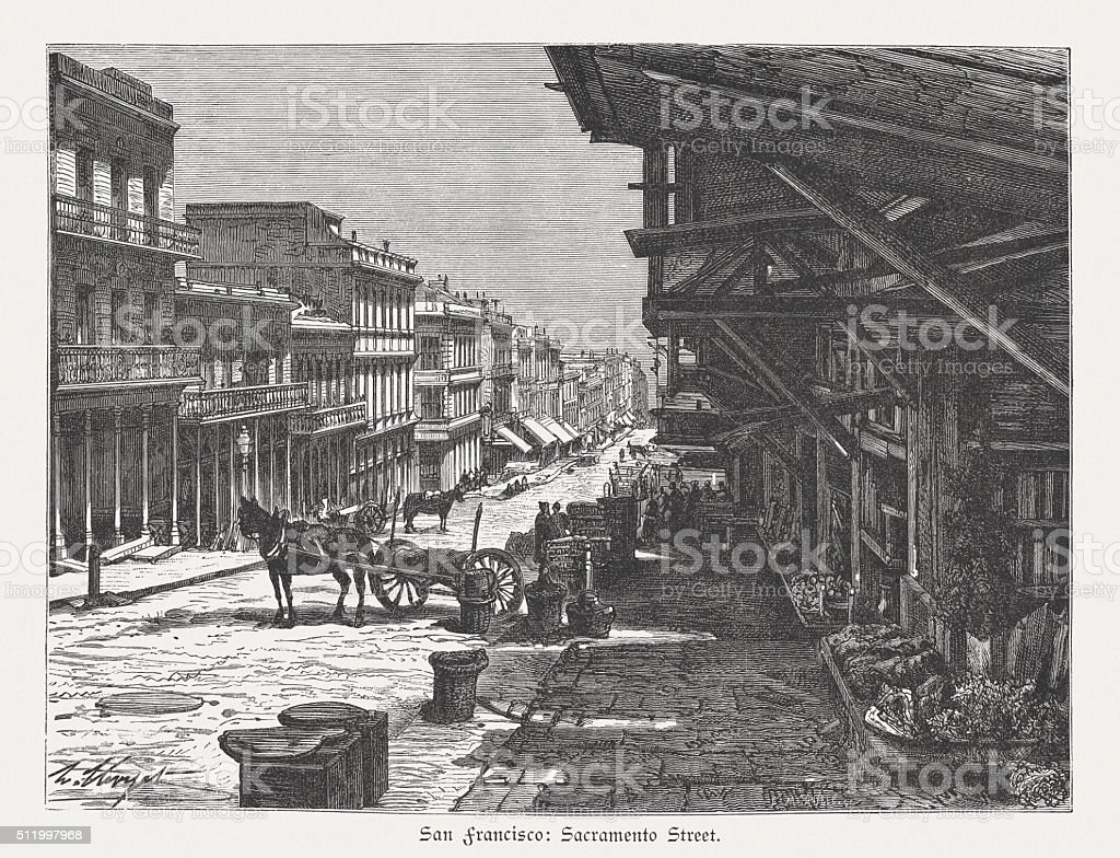 Sacramento Street, San Francisco, USA, wood engraving, published in 1880 vector art illustration