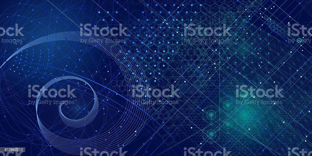 Sacred geometry symbols and elements background vector art illustration