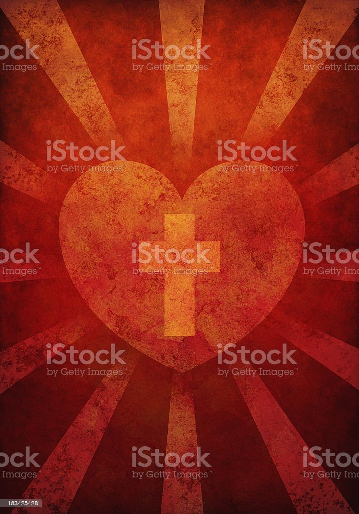 sacred heart vector art illustration