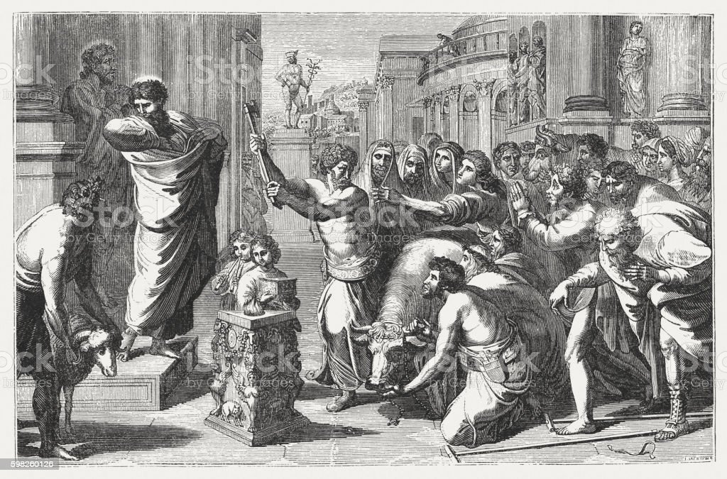 Sacrifice at Lystra (Acts 14), wood engraving, published in 1855 vector art illustration