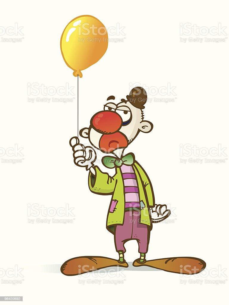 Sad clown vector art illustration