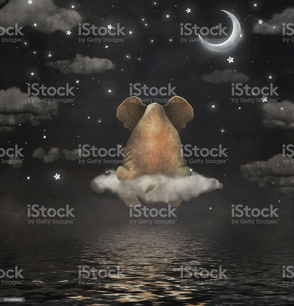 Sad elephant sitting on cloud vector art illustration