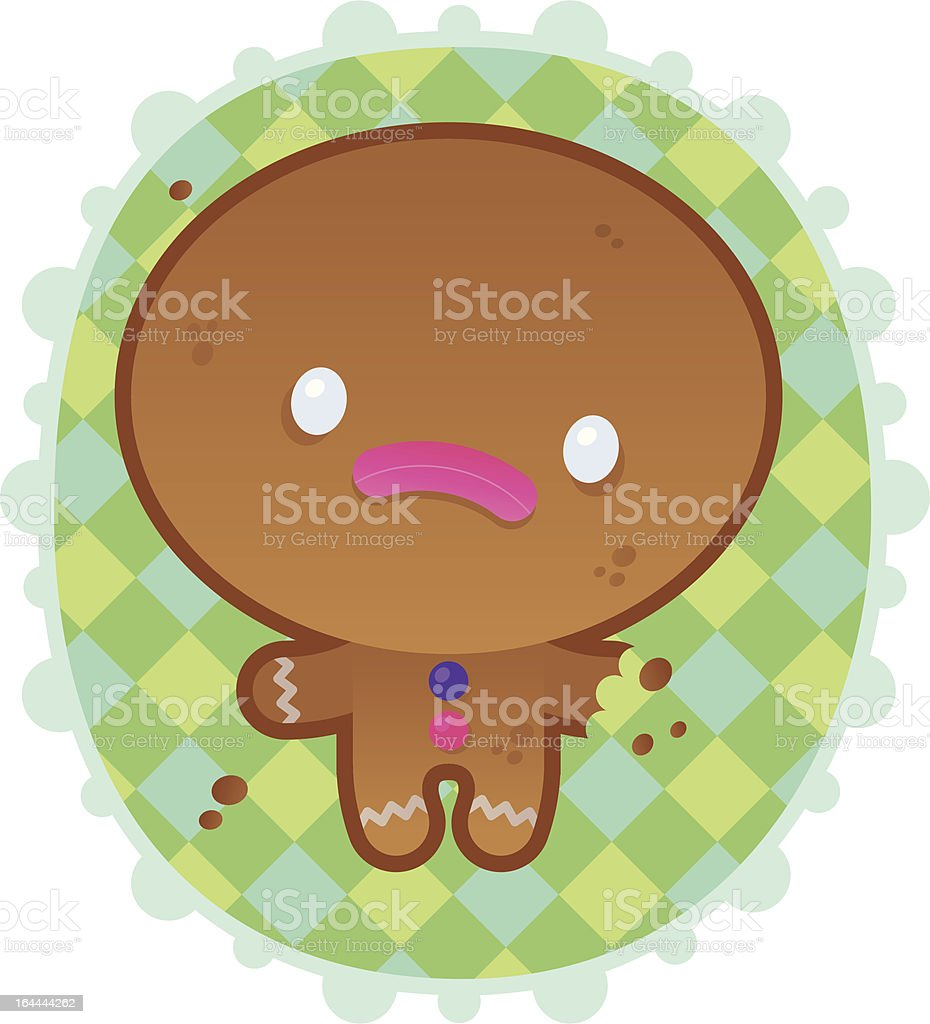 Sad Gingerbread Man in a colorful Frame royalty-free stock vector art