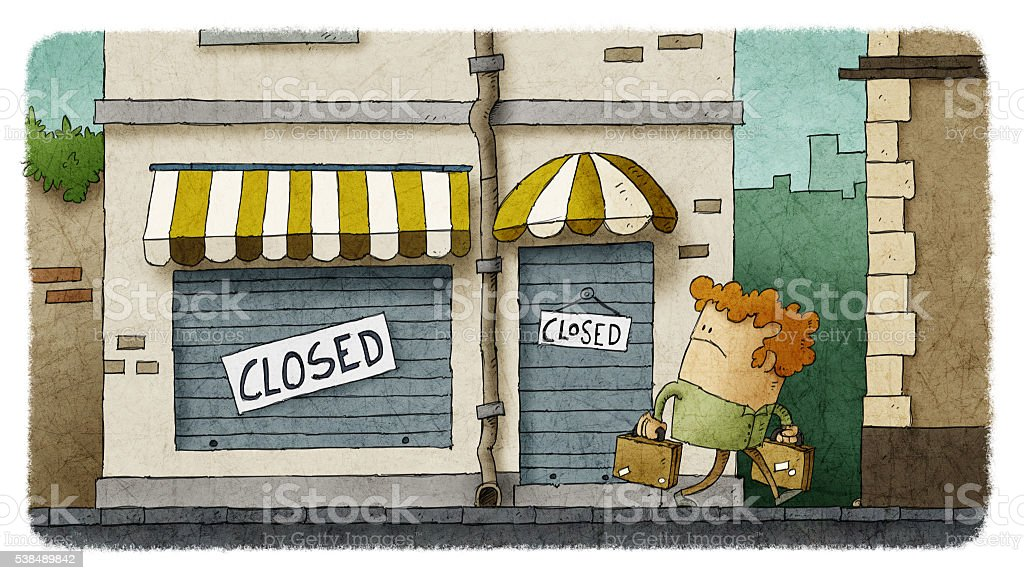 Sad man looking at her small business failure vector art illustration