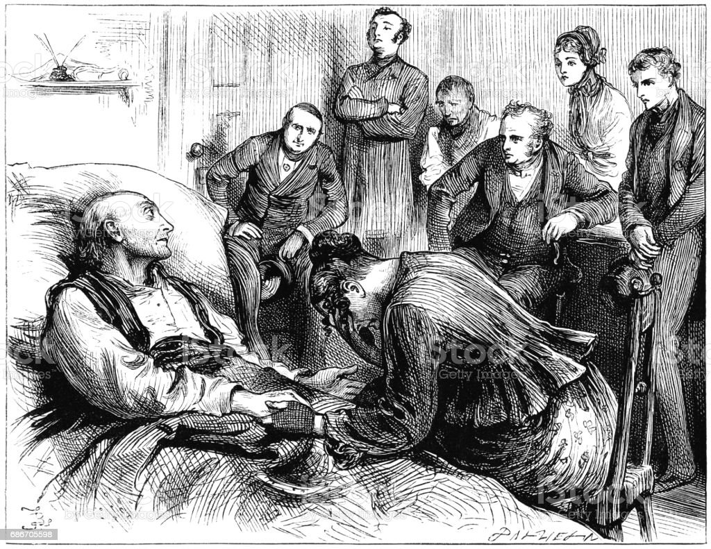 Sad Victorian family at the bedside of a dying man vector art illustration