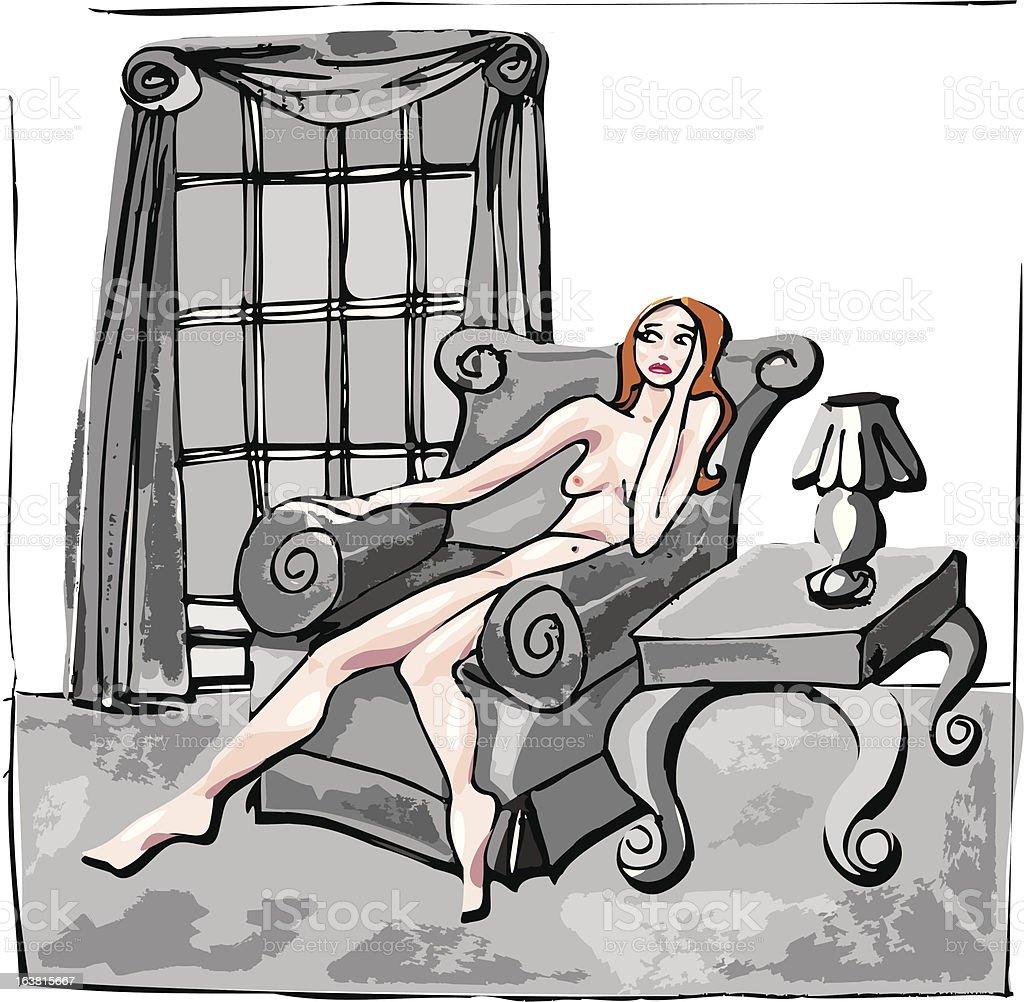 Sad woman in grey room vector art illustration