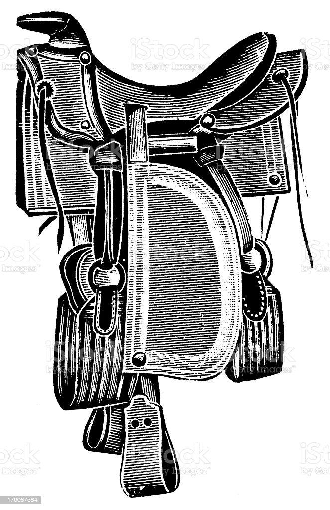 Saddle | Antique Design Illustrations vector art illustration