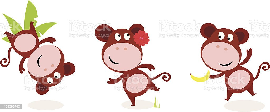 Safari animals: Brown cute monkey poses isolated on white background royalty-free stock vector art
