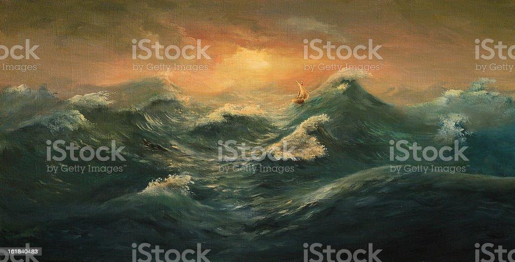 Sail in the sea vector art illustration