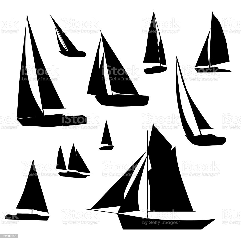Sailboat Collection vector art illustration