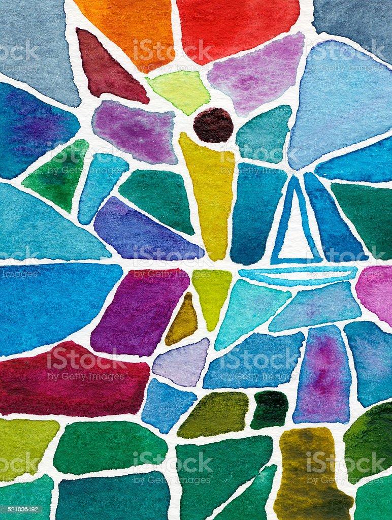 sailboat in watercolor mosaic painting vector art illustration