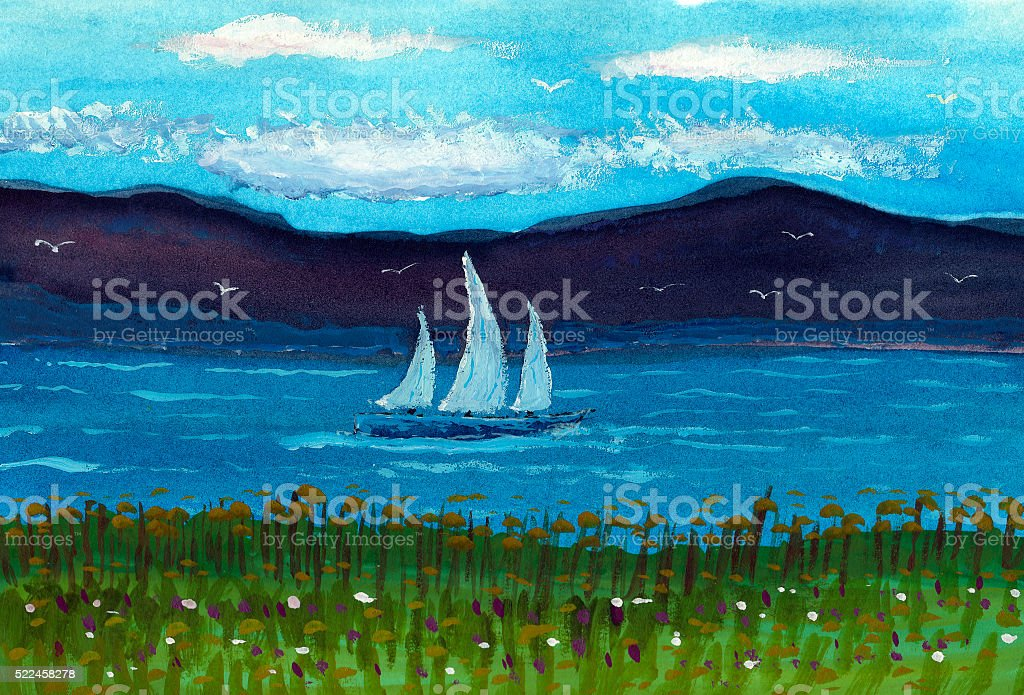 sailboat on a lake with mountain landscape stock photo