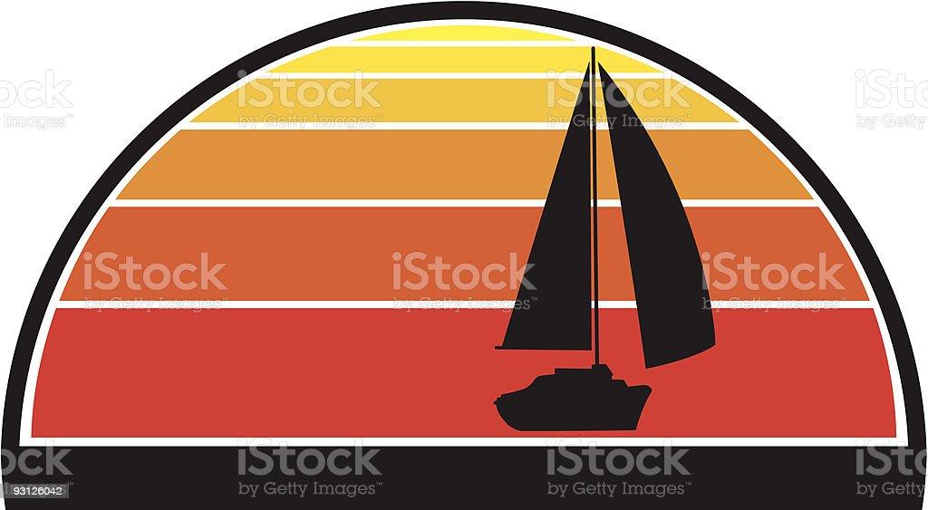 Sailboat Sunset royalty-free stock vector art